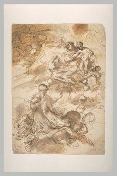 Inventaire du département des Arts graphiques - Saint Dominique prosterné devant la Vierge et l'Enfant - ANONYME ITALIEN XVIIè s