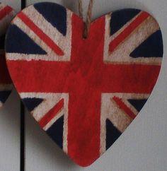 Union Jack Wooden Hanging Heart decoration by BringMeSunshine7, $3.50