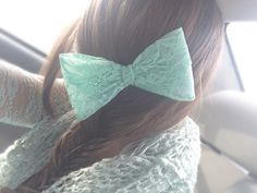 Mint hair bow with fish tale braid. Gorgeous!