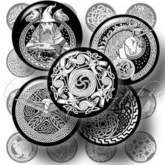 """Celtic Tattoo Designs - 1.313"""" circles - Digital Collage Sheet CG-113 for 1"""" Buttons, Magnets on Etsy, $4.40 AUD"""