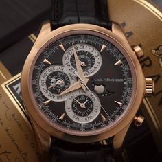 Carl F.Bucherer Manero ChronoPerpetual Limited Edition [100 pieces] featuring the perpetual calendar, with the correction-free indication of date, day, month and moon phase.