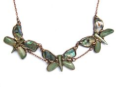 Necklace:+Butterflys+green-brown+from++Witrażka+-+jewelry+made+of+semiprecious+stones+by+DaWanda.com