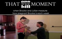 THAT #OTH MOMENT Measuring Brooke's belly