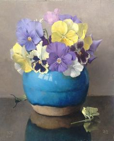 art-and-things-of-beauty: Jan Voerman jun. (Dutch, 1890-1976) - Violets in a vase, oil on panel 24 x 18 cm.