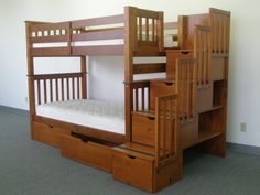Bunk Bed Tall Twin over Twin Stairway Expresso with Drawers delivered for only $765