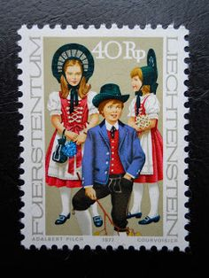 Stamps, covers and postcards of traditional/folk costumes: Stamps / Costumes - Liechtenstein / Lichtenšteinas