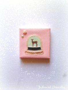 """* Noël * Toile miniature décorative série """" Douce Nuit ... """" n°104 : Accessoires de maison par jademiel-etincelles"""