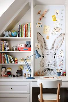 cut-to-fit magnetic wallpaper, kids work space.