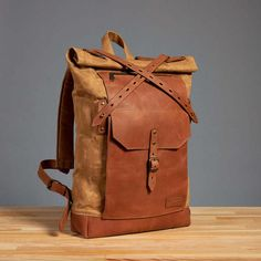 Waxed canvas backpack Mens / Womens canvas leather backpack