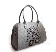 SALE Ladies felt bag Shopper bag Women's handbag Felted purses Bag lady Handmade bag Everyday tote bag Medium size bag Floral bag Grey bag by volaris on Etsy