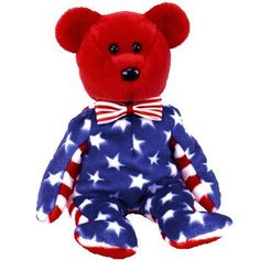 Liberty the red bear ty beanie baby - retired