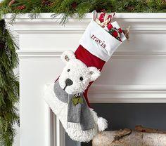 Polar Bear Woodland Stocking Winter Christmas