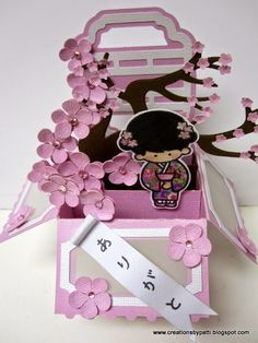Creations by Patti: Arigato Cherry Blossom Box Card Arte Pop Up, Asian Crafts, Exploding Box Card, Pop Up Box Cards, Interactive Cards, Paper Crafts Origami, Oriental, Cool Cards, Scrapbook Cards