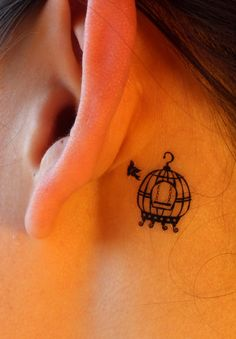 Very pretty! And only temporary lol xx Bird and Birdcage Temporary Tattoo by EARinkFun on Etsy, $2.98