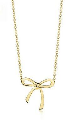 Tiffany's mini gold bow necklace