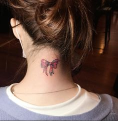 small bow tattoo on her neck #ink #Youqueen #girly #tattoos #bow @youqueen