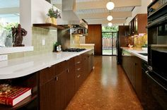 Our new floors: Nova Rombo Natural cork. A Contemporary Eichler kitchen Walnut Creek- CORK FLOORS!