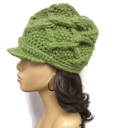 Grass Green hand Knit cabled beanie with brim and by ScarFanatic, $45.00