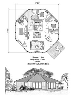 Online House Plan: 1455 sq. ft., 3 Bedrooms, 2 Baths, Patio Collection (PT-0624) by Topsider Homes.