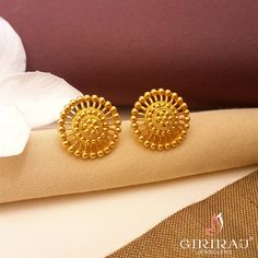 Pastoral Stud Earrings - If You Like To Keep Things Simple Then We Have Something To Suit You The Best. Uncomplicated And Chic Earrings Moulded In Gold To Offer You Quality With Peace Of Mind. Gold Earrings Designs, Gold Stud Earrings, Gold Earrings For Women, Jewelry Design Earrings, Gold Rings Jewelry, Gold Jewellery Design, Designer Earrings, Women's Earrings, Gold Kangan