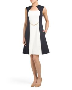 Color Block Crepe Dress With Chain Belt. Cute and dressy for work great find at TJ MAXX #dressforsuccess #affiliate #weartowork #dress