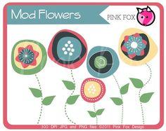 INSTANT DOWNLOAD - mod flower clip art, modern flower clipart, shabby chic graphic for etsy banner, invitation, graphic design