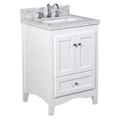 Kitchen Bath Collection Abbey Bathroom Vanity Set with Marble Countertop, Cabinet with Soft Close Function and Undermount Ceramic Sink, Crema Marfil/White, 30 Inch Bathroom Vanity, 24 Inch Vanity, White Bathroom, Bathroom Vanities, Marble Bathrooms, Modern Bathrooms, Downstairs Bathroom, Natural Bathroom, Master Bathrooms