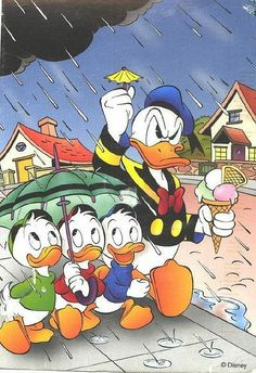 Disney - Donald Duck in the rain: Donald's full name is Donald Fauntleroy Duck. Donald's birthday is officially recognized as June the day of his debut film. Walt Disney, Disney Pixar, Disney Duck, Disney Animation, Disney Love, Disney Mickey, Disney Art, Humour Disney, Disney Cartoons