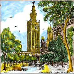 """Patio de los Naranjos, Sevilla, Andalucia, 2001. One of my favorite cities in the world. The fact that the temperature was about 104 degrees while we were there did not spoil the enjoyment. 6""""x6"""" (15.24cm)"""