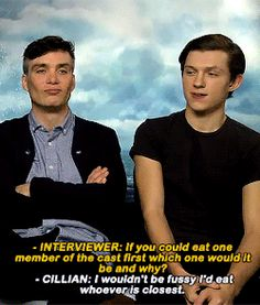Cillian Murphy and Tom Holland. Peaky Blinders Tommy Shelby, Peaky Blinders Thomas, Cillian Murphy Peaky Blinders, Cillian Murphy Movies, Peaky Blinders Wallpaper, Peaky Blinders Quotes, Actor Quotes, Funny Memes, Hilarious