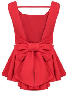 Cheap women cashmere, Buy Quality women fashion blouse directly from China women brace Suppliers: 2015 New Women Summer Poullover Sheinside Blusas Mult Red Peplum Tops, Backless Top, Backless Shirt, Bow Tops, Women's Tops, Party Tops, Dress To Impress, Ideias Fashion, Cute Outfits