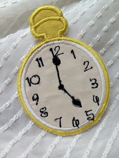 Alice in Wonderland Clock Iron on Patch by Sewpplies on Etsy, $7.00
