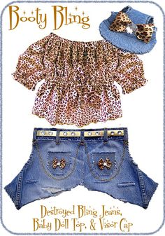 Dog Clothes Pattern Girl Jeans, Top, Hat PDF. $7.99, via Etsy.