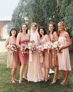 mismatched bridesmaids -- of course love the pink, but I also love how the dress length ties everyone together and creates such interesting photographs.
