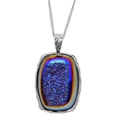 Artisan Crafted Drusy Agate (24.08 Ct) Sterling Silver Pendant With Chain  £19.95