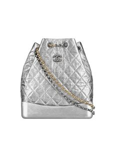 CHANEL's GABRIELLE Backpack, metallic crumpled calfskin, silver-tone & gold-tone metal-silver - CHANEL