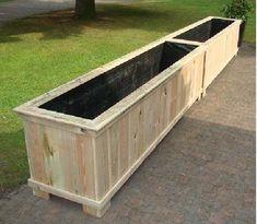 Bloembak plantenbak 120x40x35cm robuust hout rechthoek van chroomvrij ge mpregneerd grenen met - Terras hout ...