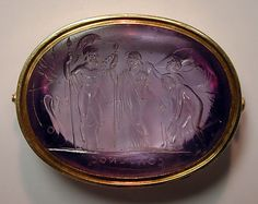 Chryseis with an attendant bearing presents, praying to Menelaus to restore his daughter. Date: early 19th century Culture: probably Italian Medium: Amethyst and gold Dimensions: With setting, L. 1-13/16 in. (4.6 cm); W. 15/16 in. (2.4 cm) Classification: Lapidary Work-Gems Credit Line: Gift of Cele H. and William B. Rubin, 1961 Accession Number: 61.109.7