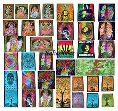 100pc Wholesale Lot Hippie Tapestry Wall Hanging Poster Art Prints Cotton 40*30/""