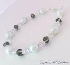 Pearl Bracelet White Pearl Grey Crystal by LynnsBridalCreations