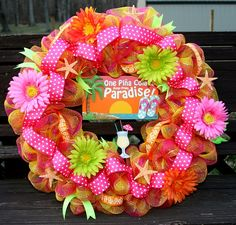 One Pina Colada away from Paradise deco mesh wreath Summer Pool