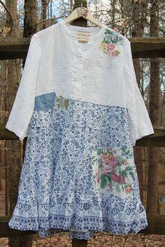 XL Boho Chic Upcycled Dress Artsy Shabby Chic by PrimitiveFringe