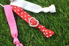 Valentines Day Hair Tie Bracelets with Heart by Monkeybugz on Etsy, $7.00