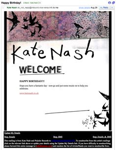What better way to show appreciation for your fans than to recognize their birthday with an email? http://www.katenash.co.uk