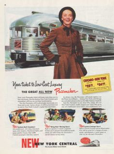 Vintage 1947 New York Central Pacemaker train railroad by Vividiom, $8.00