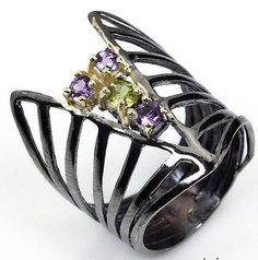 Handmade Jewelry Natural Amethyst 925 Sterling Silver Ring Size 7.5