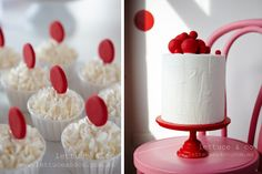 LETTUCE & CO - STYLE. EAT. PLAY 'red spotty love', children's theme party, dessert table styling, spotty topper cupcakes, rendered buttercream icing cake with red ball toppers