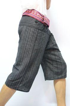 Black 3/4 Thai Fisherman Pants With Thai Hand Woven Fabric on Waist Side,Unisex Pants ,Wide Leg Pants,Yoga Pants,Maternity Pants. $12.95, via Etsy.