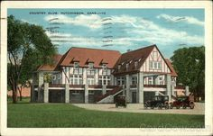 Hutchinson Kansas KS 1940s Carey Park Boat House Vintage Postcard