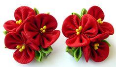 Flores de tela Kanzashi. Juego de 2 pinzas de pelo. Flores